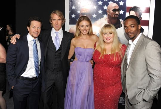 Actor Mark Wahlberg, director Michael Bay, actors Bar Paly, Rebel Wilson, and Anthony Mackie