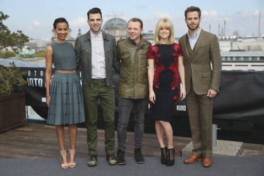 (Left to right) Zoe Saldana, Zachary Quinto, Simon Pegg, Alice Eve and Chris Pine at the China Club in Berlin
