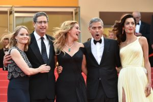"Cannes, France - May 12, 2016: Money Monster's Hollywoood heavyweights steal the spotlight with the most talked about film at Cannes.  (l to r) US director Jodie Foster, Chairman of Sony Pictures Entertainment's Motion Picture Group Tom Rothman, US actress Julia Roberts and US actor George Clooney and his wife British-Lebanese lawyer Amal Clooney as they arrive for the screening of the film ""Money Monster"" at the 69th Cannes Film Festival in Cannes, southern France.  / AFP / ALBERTO PIZZOLI        (Photo credit should read ALBERTO PIZZOLI/AFP/Getty Images)"