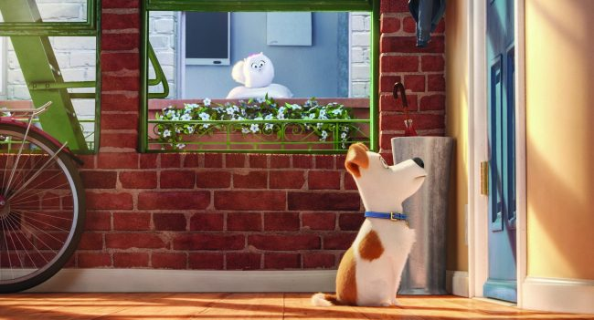 "Gidget (JENNY SLATE) is a naïve-but-gutsy Pomeranian and Max (LOUIS C.K.) is a pampered terrier mix in Illumination Entertainment and Universal Pictures' ""The Secret Life of Pets,"" a comedy about the lives our pets lead after we leave for work or school each day."
