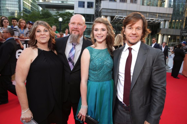 "Felicia Williams, Mike Williams, Sydney Williams and Mark Wahlberg seen at Lionsgate's ""Deepwater Horizon"" premiere at the 2016 Toronto International Festival on Tuesday, Sept. 13, 2016, in Toronto."