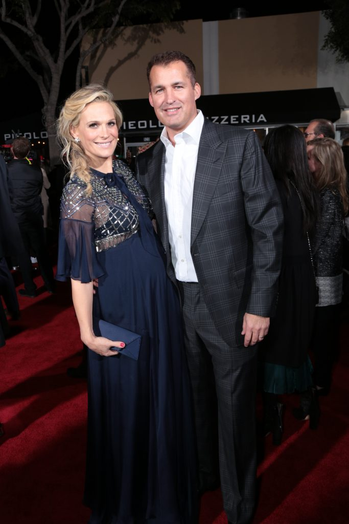 "Molly Sims and Scott Stuber pose as Paramount Pictures presents the Los Angeles premiere of ""Office Christmas Party"" at the Regency Village Theater in Los Angeles, CA on Wednesday, December 7, 2016 ..(Photo: Alex J. Berliner / ABImages)"