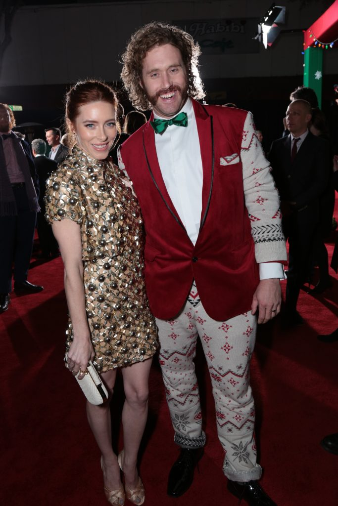"Kate Miller and T.J. Miller pose as Paramount Pictures presents the Los Angeles premiere of ""Office Christmas Party"" at the Regency Village Theater in Los Angeles, CA on Wednesday, December 7, 2016 ..(Photo: Alex J. Berliner / ABImages)"
