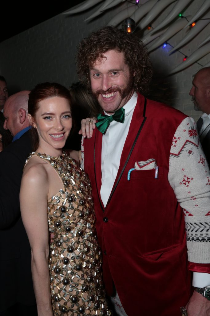 "T.J. Miller and Kate Miller pose at the after party as Paramount Pictures presents the Los Angeles premiere of ""Office Christmas Party"" at the Regency Village Theater in Los Angeles, CA on Wednesday, December 7, 2016 ..(Photo: Alex J. Berliner / ABImages)"