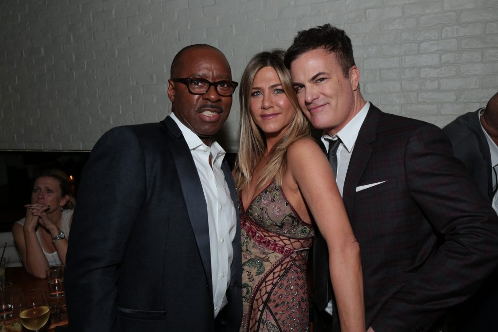 "Courtney B. Vance, Jennifer Aniston and Will Speck pose at the after party as Paramount Pictures presents the Los Angeles premiere of ""Office Christmas Party"" at the Regency Village Theater in Los Angeles, CA on Wednesday, December 7, 2016 ..(Photo: Alex J. Berliner / ABImages)"