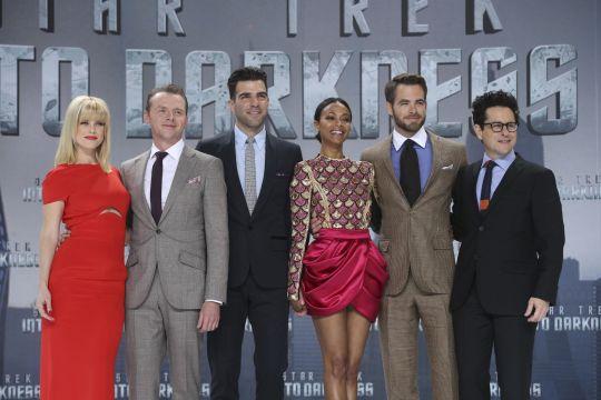 (Left to right) Alice Eve, Simon Pegg, Zachary Quinto, Zoe Saldana, Chris Pine and J.J. Abrams in Berlin
