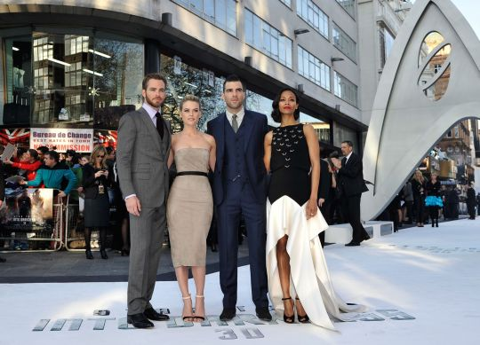 (Left to right) Chris Pine, Alice Eve, Zachary Quinto and Zoe Saldana in Leicester Square