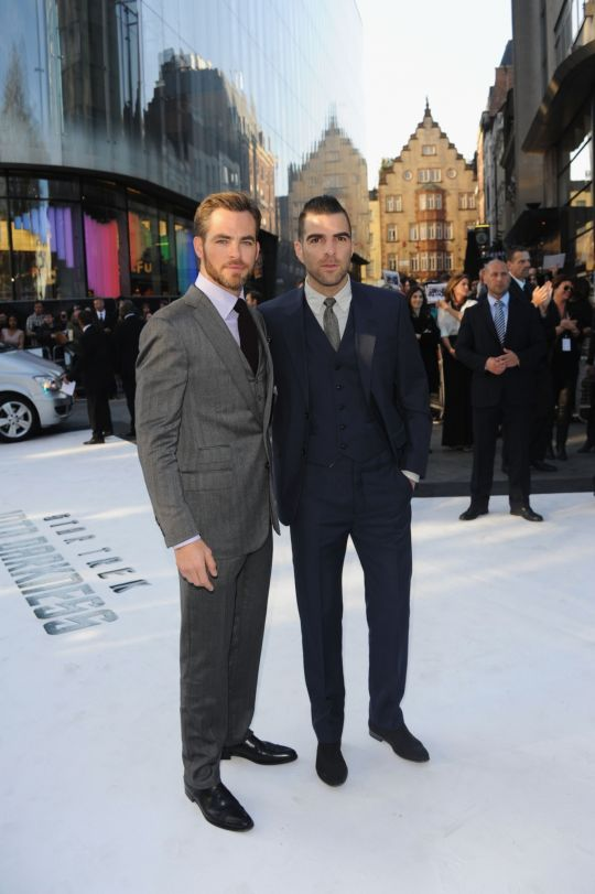 (Left to right) Chris Pine and Zachary Quinto in Leicester Square, London