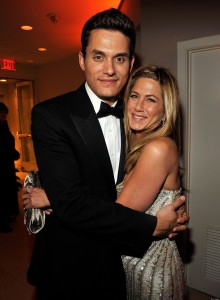 (EXCLUSIVE, Premium Rates Apply) WEST HOLLYWOOD, CA - FEBRUARY 22: (***EXCLUSIVE ACCESS SPECIAL RATES APPLY*** NO TV BROADCAST IN THE USA OR CANADA UNTIL FEBRUARY 26.) Musician John Mayer and actress Jennifer Aniston attends the 2009 Vanity Fair Oscar party hosted by Graydon Carter at the Sunset Tower Hotel on February 22, 2009 in West Hollywood, California. (Photo by Kevin Mazur/VF/WireImage for Vanity Fair)