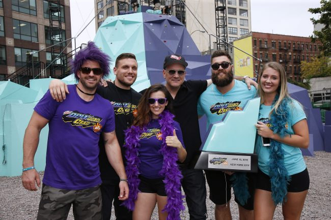 """Original GUTS host Mike O'Malley, third right, DEWggro Crag host Chris Distefano, second left, and members of MTV's The Challenge, from left, Johnny """"Bananas"""" Devenanzio, Camila Nakagawa, Chris """"CT"""" Tamburello and Jenna Compono relive a 90s dream at the MTN DEW DEWggro Crag Powered by The Splat event, Thursday, June 16, 2016 in New York, as part of MTN DEW's DEWcision campaign. Visit DEWcision.com for more information. (Jason DeCrow/AP Images for MTN DEW)"""