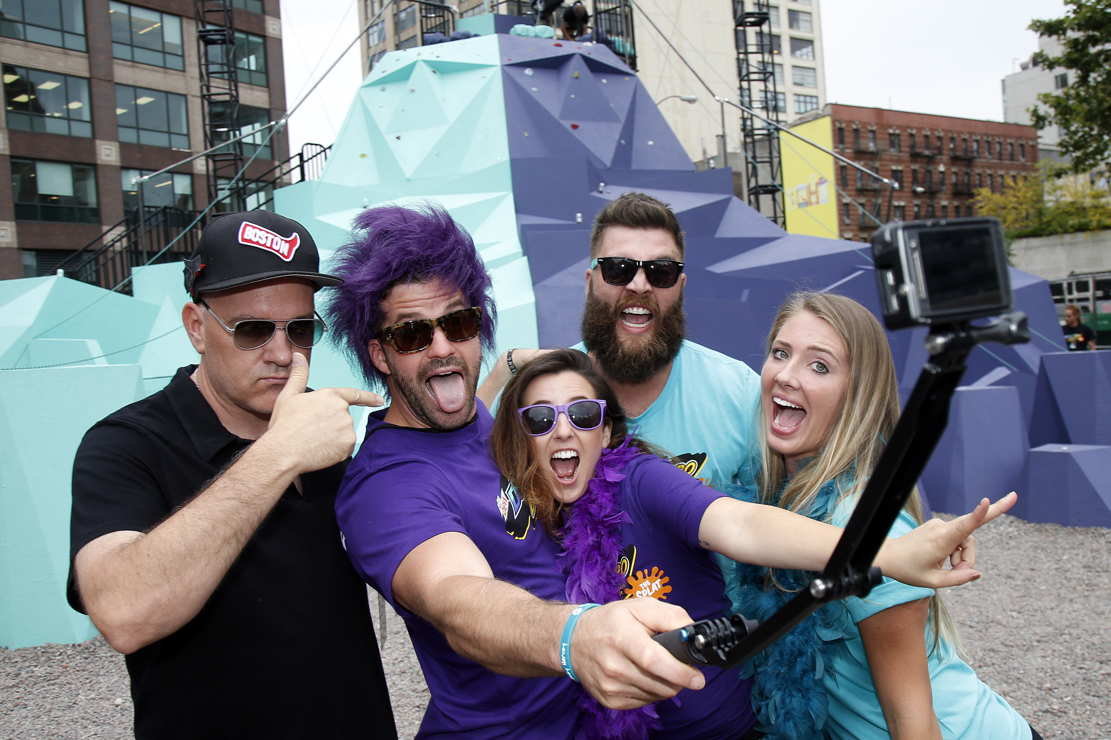 """From left, original GUTS host Mike O'Malley and members of MTV's The Challenge Johnny """"Bananas"""" Devenanzio, Camila Nakagawa, Chris """"CT"""" Tamburello and Jenna Compono relive a 90s dream at the MTN DEW DEWggro Crag Powered by The Splat event, Thursday, June 16, 2016 in New York, as part of MTN DEW's DEWcision campaign. Visit DEWcision.com for more information. (Jason DeCrow/AP Images for MTN DEW)"""