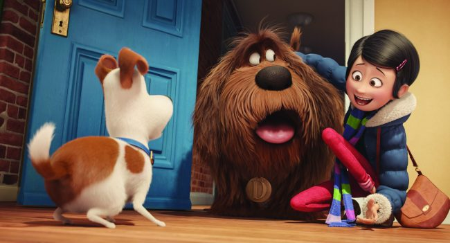 "(L to R) Pampered terrier mix Max (LOUIS C.K.) is introduced to giant, fluffy, unruly rescue Duke (ERIC STONESTREET) by their owner, Katie (ELLIE KEMPER), in Illumination Entertainment and Universal Pictures' ""The Secret Life of Pets,"" a comedy about the lives our pets lead after we leave for work or school each day."