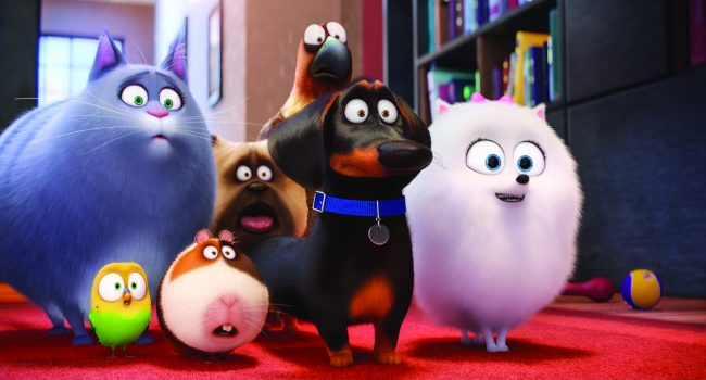 "(L to R) Chloe (LAKE BELL), Sweetpea, Norman (CHRIS RENAUD), Mel (BOBBY MOYNIHAN), Buddy (HANNIBAL BURESS), Tiberius (ALBERT BROOKS) and Gidget (JENNY SLATE) in Illumination Entertainment and Universal Pictures' ""The Secret Life of Pets,"" a comedy about the lives our pets lead after we leave for work or school each day."