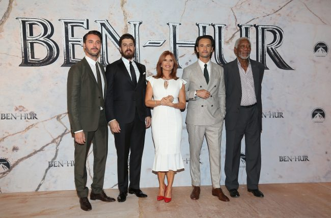 "MEXICO CITY, MEXICO - AUGUST 09:  (L-R) Jack Huston, Toby Kebbell, Roma Downey, Rodrigo Santoro and Morgan Freeman attends the Mexico Premiere of the Paramount Pictures ""Ben-Hur"" at Metropolitan Theater on August 9, 2016 in Mexico City, Mexico.  (Photo by Victor Chavez/Victor Chavez/Getty Images for Paramount Pictures)  width="