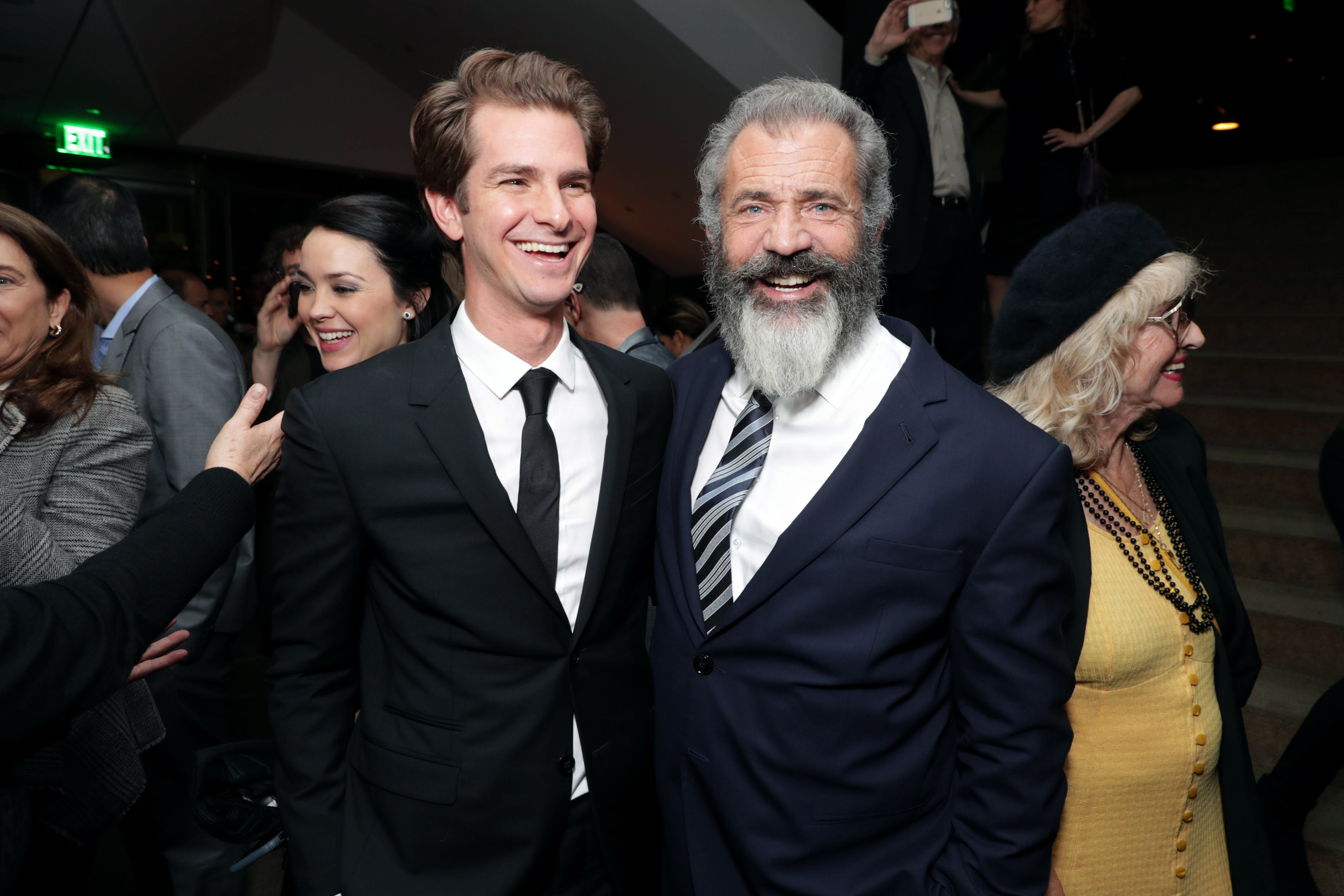 "Andrew Garfield and Director Mel Gibson seen at Summit Entertainment, a Lionsgate Company, Los Angeles Special Screening of ""Hacksaw Ridge"" after party at The Academy's Samuel Goldwyn Theater on Monday, Oct. 24, 2016, in Beverly Hills, Calif. (Photo by Eric Charbonneau/Invision for Lionsgate/AP Images)"