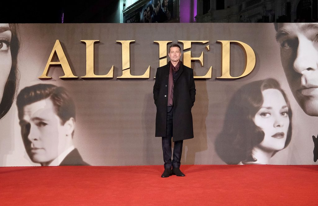 "LONDON, ENGLAND - NOVEMBER 21:  Brad Pitt attends the UK Premiere of the Paramount Pictures Film ""Allied"" Odeon Leicester Square on November 21, 2016 in London, England.  (Photo by Mike Marsland/Mike Marsland/Getty Images for Paramount Pictures) *** Local Caption *** Brad Pitt"