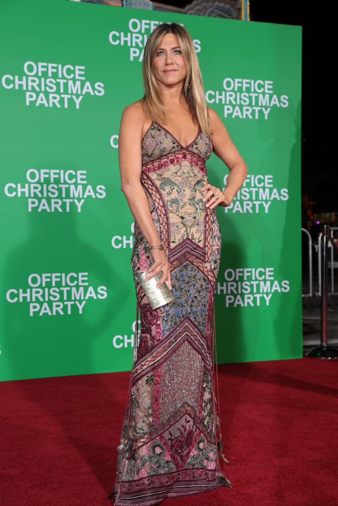 "Jennifer Aniston poses as Paramount Pictures presents the Los Angeles premiere of ""Office Christmas Party"" at the Regency Village Theater in Los Angeles, CA on Wednesday, December 7, 2016 ..(Photo: Alex J. Berliner / ABImages)"