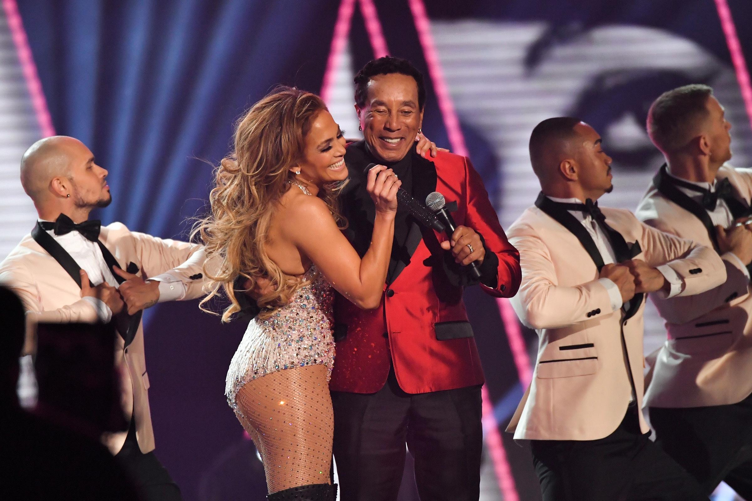 Jennifer Lopez and Smokey Robinson at The Grammys